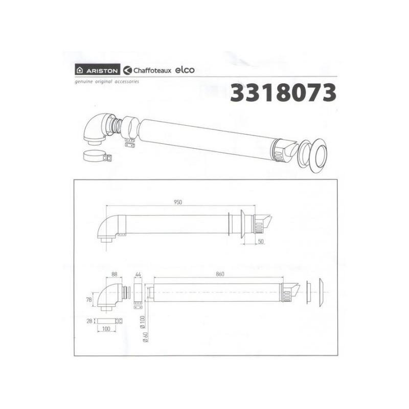 Дымоход коаксиальный для конденсационного котла Ariston1000 мм, ø 60/100 с коленом, 3318073