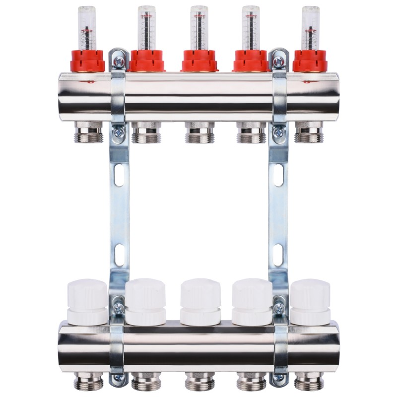"Коллектор с расходомерами, регуляторами и креплением ECO 001A 1""x5"