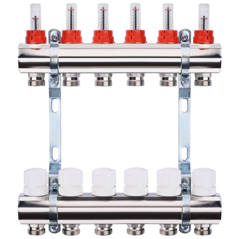 "Коллектор с расходомерами, регуляторами и креплением ECO 001A 1""x6"