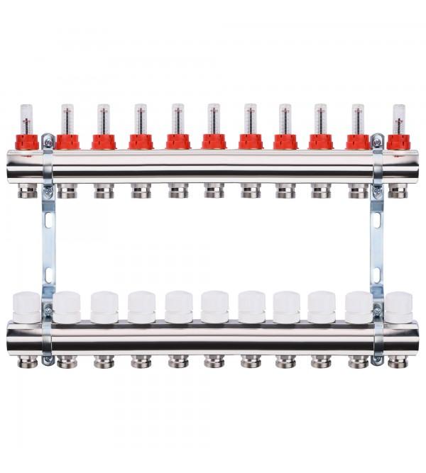 "Коллектор с расходомерами, регуляторами и креплением ECO 001A 1""x11"