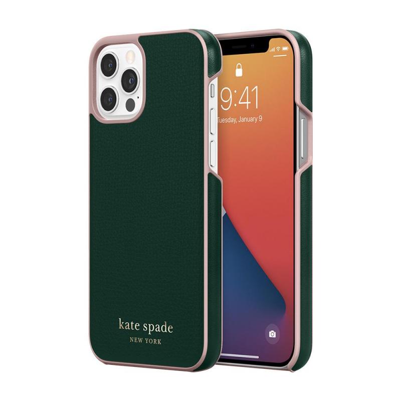 Чохол Kate Spade New York Wrap Case for iPhone 12 Pro - Deep Evergreen/Rococo Pink  PC/Gold Sticker Logo