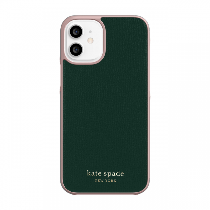 Чохол Kate Spade New York Wrap Case for iPhone 12 mini - Deep Evergreen/Rococo Pink PC/Gold Sticker Logo
