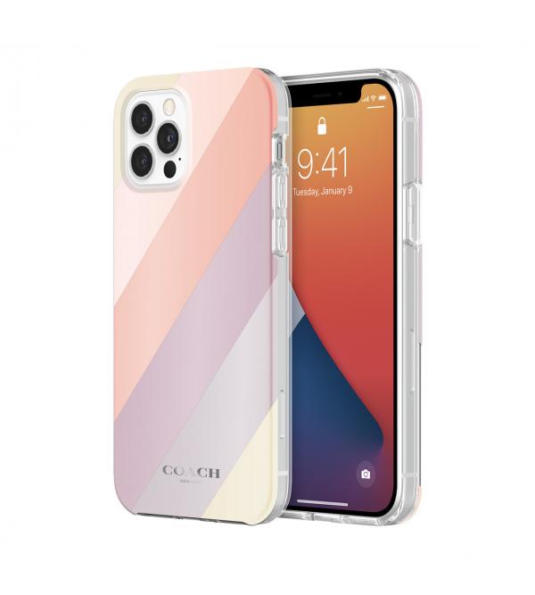 Чохол Coach Protective Case for iPhone 12 Pro - Diagonal Stripe Metallic Multi