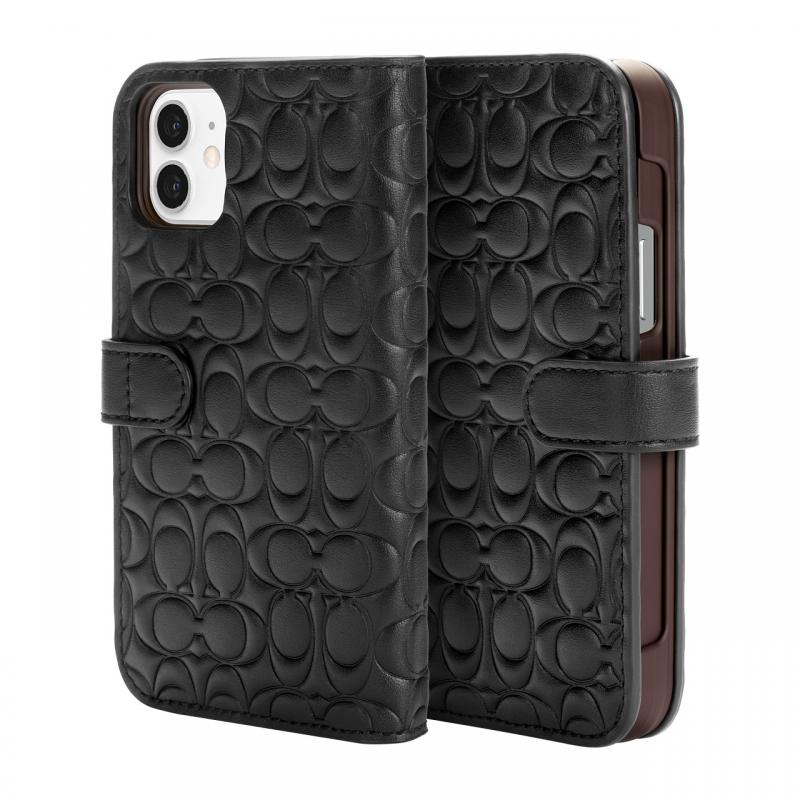 Чохол Coach Leather Folio Case for iPhone 12 - Signature C Deboss Black