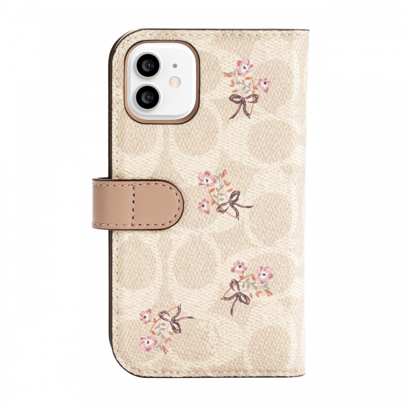 Чохол Coach Folio Case for iPhone 12 - Floral Bow Signature C Sand/Multi Printed/Glitter Accents