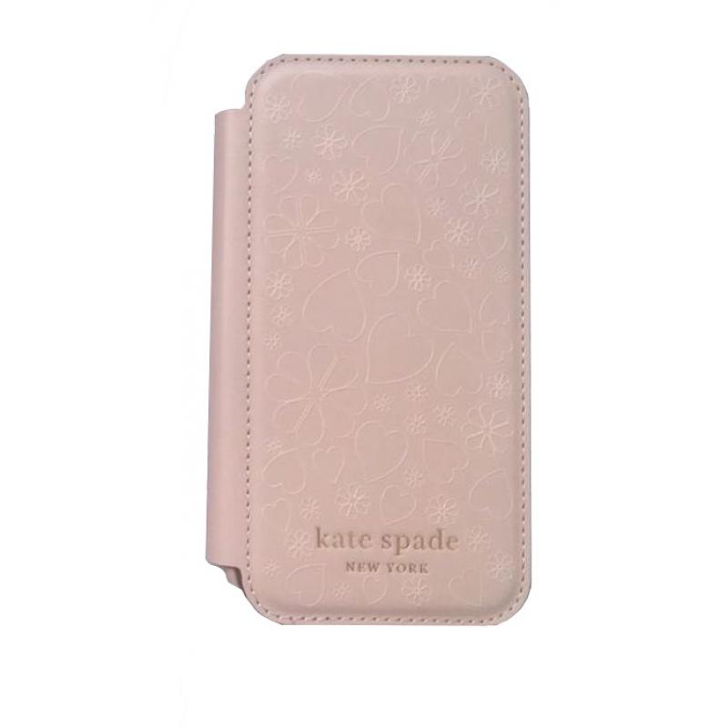 Чохол Kate Spade New York Folio Case for iPhone 12 Pro - Pale Vellum Crumbs/Printed Clover Heart Pattern/Pale Vellum PC/Gold Sticker Logo