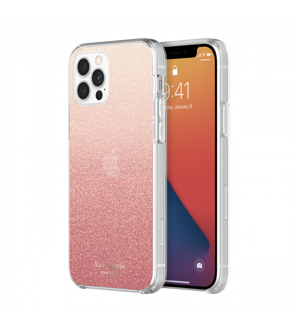 Чохол Kate Spade new york Protective Hardshell Case (1-PC Comold) for iPhone 12 Pro - Glitter Ombre Sunset Pink/Multi