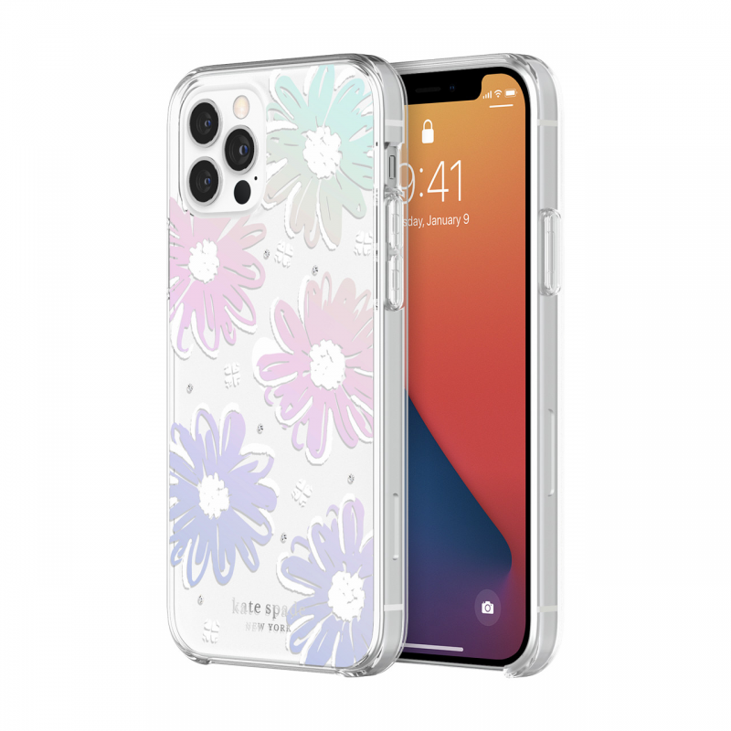 Чохол kate spade new york Protective Hardshell Case (1-PC Comold) for iPhone 12 Pro - Daisy Iridescent Foil/White/Clear/Gemsi