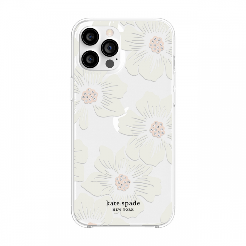 Чохол kate spade new york Protective Hardshell Case (1-PC Comold) for iPhone 12 Pro Max - Hollyhock Floral Clear/Cream with Stones