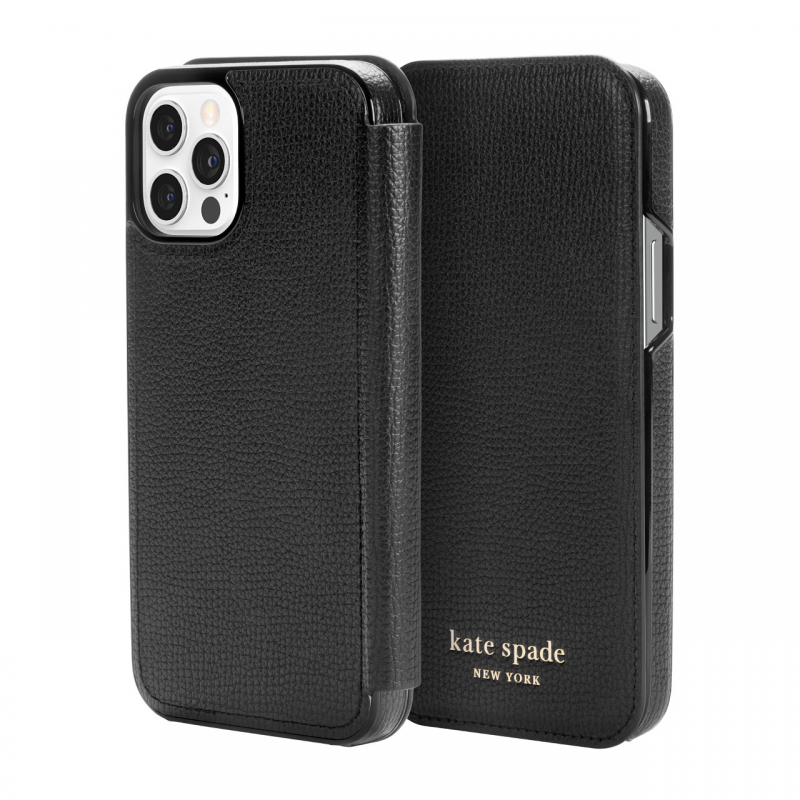 Чохол Kate Spade New York Folio Case for iPhone 12 Pro - Black Crumbs/Black PC/Gold Sticker Logo