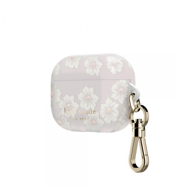 Kate Spade new york Airpods Pro Case - Hollyhock Cream/Blush/Translucent Blush/Glitter Flower Centers/Gold Logo/Premium Gold Hardware