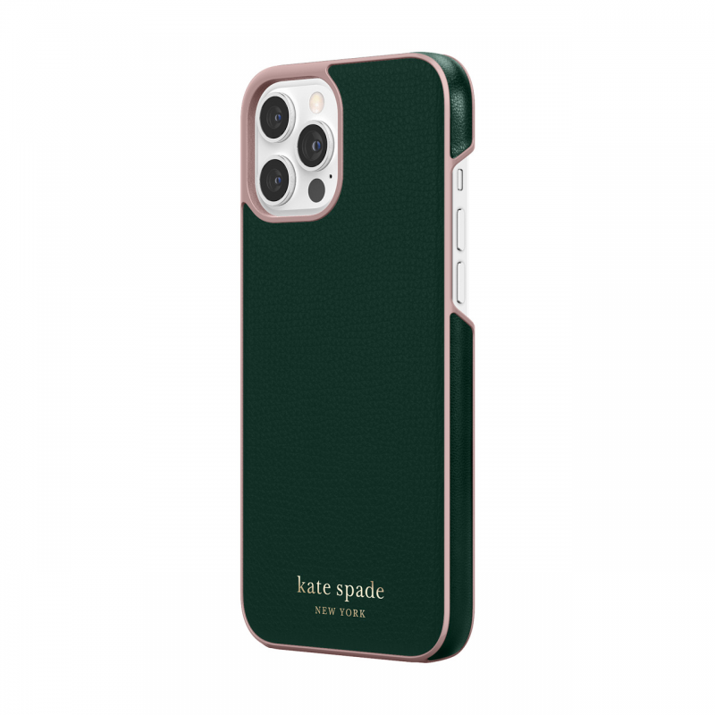 Чохол Kate Spade New York Wrap Case for iPhone 12 Pro Max - Deep Evergreen/Rococo Pink PC/Gold Sticker Logo